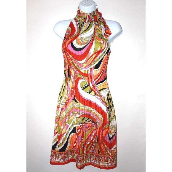Dresses & Skirts - Vintage Psychedelic Colorful 70's Halter Dress